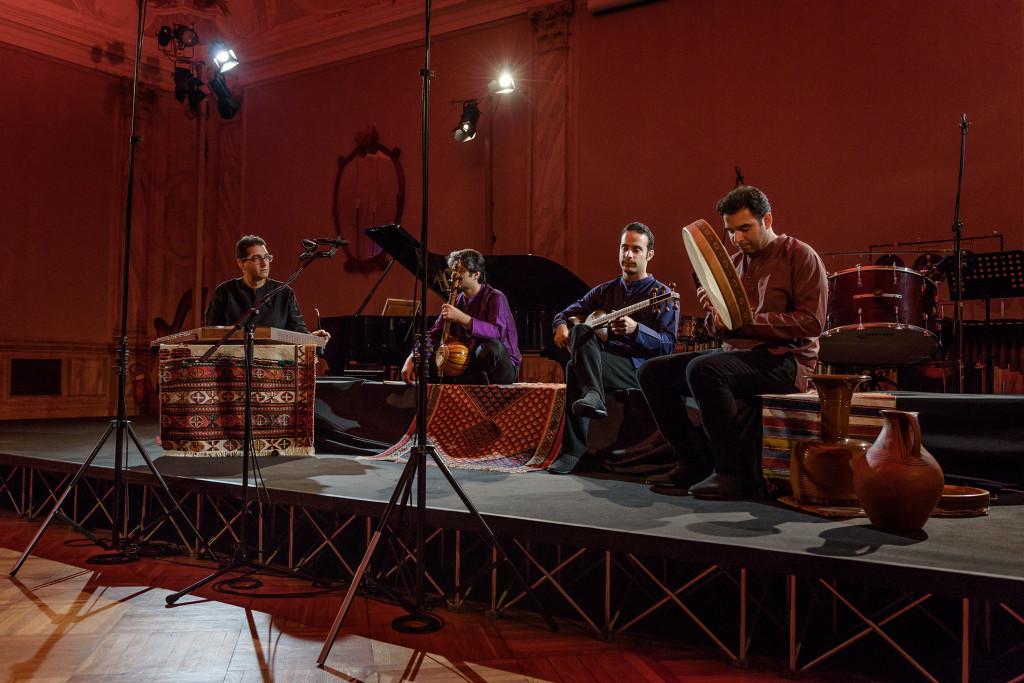 Mehraein Ensemble, Left to Right: Karen Keyhani (santour), Saman Samimi (kamanche), Milad Mohammadi (tar), Mohammadreza Raeesi (Iranian Percussions: daf, tombak, dayereh, kuzeh, bendir),Venice Biennale 2016, Photographer: Andrea Avezzu